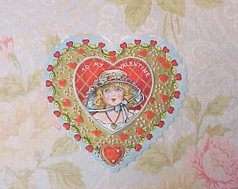 Charming Little Vintage Heart Shaped Valentine Card-Little Girl in Bonnet