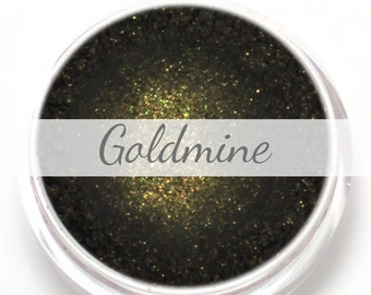 "Eyeshadow Sample - ""Goldmine"" - Black with Gold Shimmer Vegan Mineral Eyeshadow Net Wt .4g Mineral Makeup Eye Color Pigment"