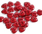 40 Small Dark Red Heart Buttons for Sewing and Crafts, size 10mm (3/8 inch), with gift wrap