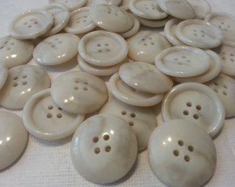 6 Marbled Off White, Cream and Tan Sewing Buttons, size 1 inch, 25mm, 4 hole buttons with rims and domed back, gift wrapped