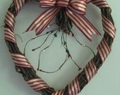 Patriotic Heart Wreath, rusted flag, pips, bell, door/wall decor, Americana