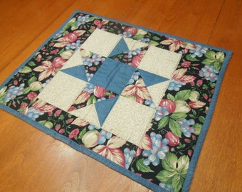 Vintage Floral Blue Quilted Wall hanging or table runner, Placemat for baby girl, holiday, housewares, home decor by MarlenesAttic