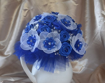 Wedding Bouquet, Sky Blue, Satin flowers and crystal flower combo