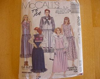 1980s McCalls Pattern 4628, Misses Jumper with Detachable Collar, Appliques,  Multi Size 8-12, UNCUT