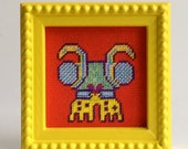 Bug Art, Small Framed Art, Red and Yellow, Kids Room Decor
