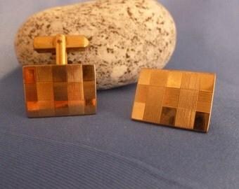 Swank Vintage Gold Checkered CuffLinks