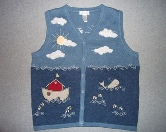 A Whale of a Good Time Sweater Vest Boating Moby Dick Fish Tacky Gaudy Ugly Christmas Sweater Party X-Mas S Small