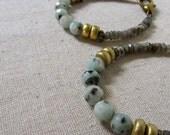 Jasper + Labradorite Bracelet, Stone Bracelet, Gemstone Bracelet, Adjustable Bracelet, Gray Bracelet