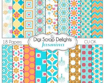 Jasmina Digital Scrapbook Paper in Aqua Blue, Orange, & Fuchsia  Pink, Quatrefoil Backgrounds