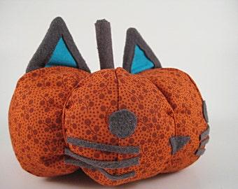 Plush Cat Pumpkin; Fall Cat Decor; Fabric Cat Haloween Decoration; Orange Floral Pattern