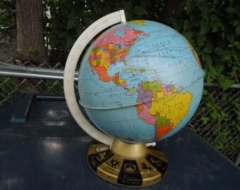 Vintage Ohio Art Tin Globe Astrology Signs on Base
