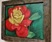 Rose Painting, Flower Framed Art, Primitive Country Wall Decor, Original Acrylic in Barn Wood Frame
