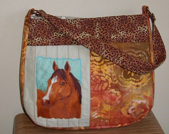 Medium size quilted purse with horse portrait embroidery