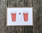 Bier, Flasche und Bier Baby neu Karte