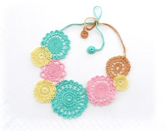 Crochet Necklace - Pastel Necklace - Circle Necklace - Mint Necklace - Cotton Necklace