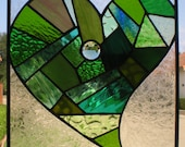Stained Glass Patchwork Heart Panel in Green