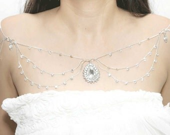 Gold/Silver Tone Bridal Wedding Jewelry Rhinestone Crystals Halter Shoulder Necklace Body Chain