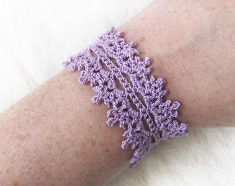 Lavender Lace Cuff Bracelet - Pastel Lilac Purple Cotton, Handmade Crochet - Cottage Romantic Winter Spring Gift for Her