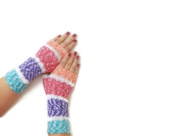 Rainbow color Wool Fingerless Gloves Armwarmers Hand Knit Chic Winter Accessories Winter Fashion