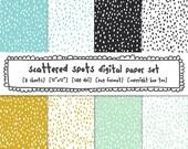 modern polka dots digital backgrounds, dalmation spots hand drawn dots, instant download, mustard yellow aqua blue turquoise gray 555