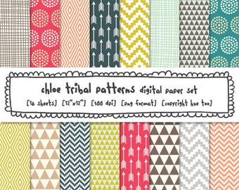 tribal patterns digital paper, girls digital printable backgrounds, pink aqua teal blue gray mustard yellow triangles arrows chevron 554