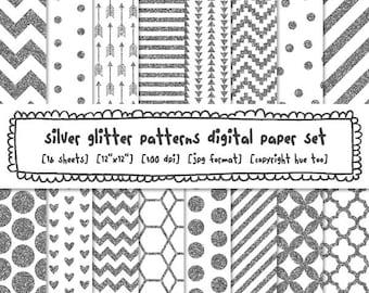 silver glitter digital paper, silver glitter digital backgrounds, digital glitter sparkles, polka dots stripes chevron instant download 574