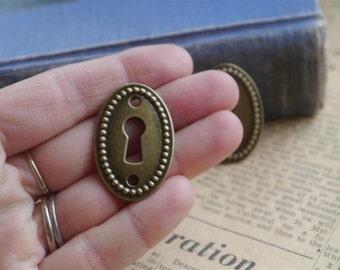 4 pcs Antique Bronze Lock Keyhole Oval Connectors Charms Pendants 37mm (BC812)