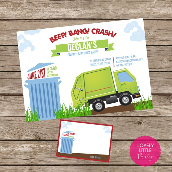 DIY Printable Garbage Truck Birthday Invitation Kit - Invite AND Thank You Card included
