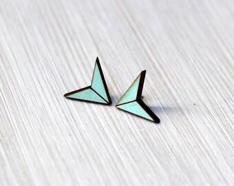 earrings »chevron arrow« light blue geo wood
