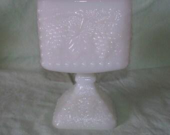 Milk Glass Pedestal Compote Planter Grape Cluster Pattern Vintage
