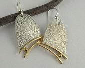 Metal Dangle Earrings - Silver and Brass Earrings - Artisan Earrings