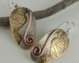 Artisan Metal Earrings - Metalsmith Earrings - Mixed Metal Earrings