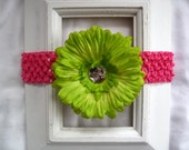 Lime Green or Hot Pink Removable Flower Clip On a Lime Green or Hot Pink Crochet Elastic Headband - Girls Baby Birthday Baby Shower Gift