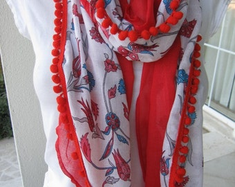 PAREO Blue white Red Turkish tile floral print natural cotton gauze scarf red pom pom trimmed,yemeni women's scarves, bohemian Fashion scarf