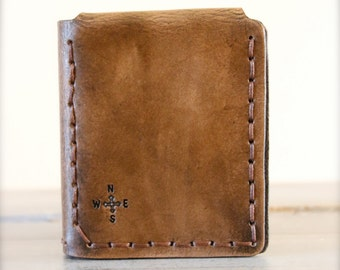 Walter Mitty Life Motto Leather Wallet - Compass Rose - Traveler's Wallet - Brown