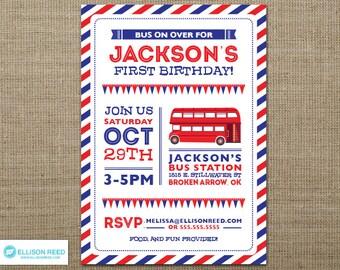 Double Decker Bus Invitation - Bus Invitation - Bus Birthday - London Birthday - Bus Printable - Transportation Invitation - Birthday party