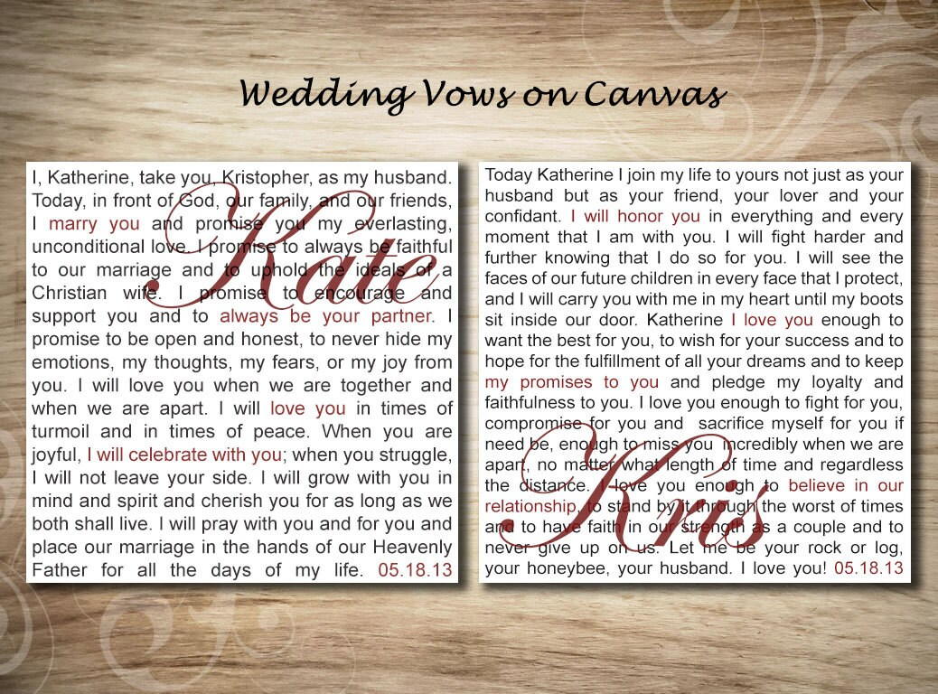 Personalized Canvas Wedding Vows On Canvas Wall Art Canvas