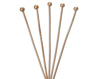 50pc Rose Gold Copper Ball Head Pins - 30mm + 21 Gauge - Jewelry Finding, Jewelry Making Supplies, Lead Free Earring, Ships from USA - HP23