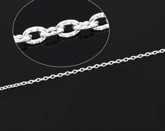 32ft Silver Plated Textured Cable Chain - 3x2mm - Wholesale Jewelry Finding, Bulk Jewelry Making Supplies, Ships from USA - CH25