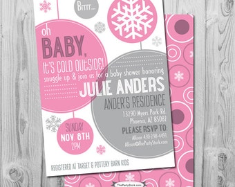 Winter Baby Shower Invitation | Printable Baby It's Cold Outside Party Invitations | Girl Shower | Pink | FREE back