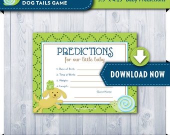 Baby Prediction Card | Printable Frogs Snails and Puppy Dog Tails Baby Shower Cards | Green Blue | Invitation Available | Instant Download