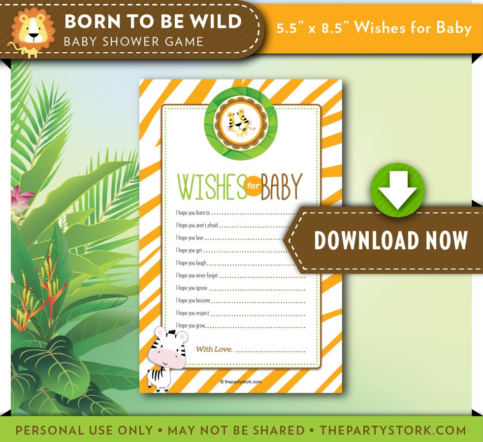 Wishes For Baby Printable Card Game Safari Baby Shower
