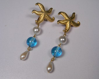 Starfish Earrings,Blue Drop  80s Clip Ons, Faux Pearls, Vintage, Ocean Life, Seaside
