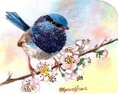 ACEO Limited Edition 3/25 - Spring in November, Wren, Art print of an original watercolor painting, Bird art, Small housewarming gift idea