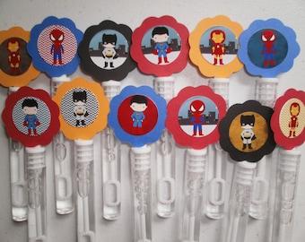 Super Hero party favor mini bubble wands, Super Hero birthday favors set of 12