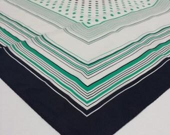 Vintage Scarf 70s Blue Green Stripes & Polkadots