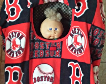 Boston Red Sox Print baby Carrier Cozy Cover Up For Infant Car Seats