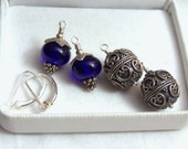 Sterling Interchangeable Dangle Earrings Wire Wrapped Leverback Pierced Earwires Bali Detail Artisan Lampwork Cobalt