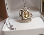 Sterling Cameo Pendant Necklace Altered Authentic Vintage Art Deco Marcasite Detail Artisan