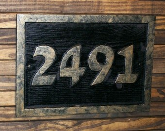 Address Sign Custom Carved Brass Finished Wood Hand Painted Plaque